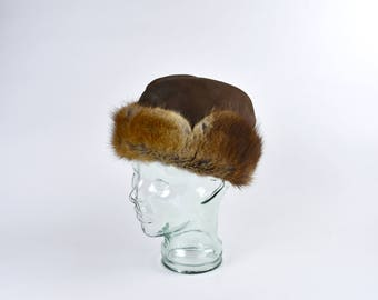 Women's 1940's Leather and Fur Wedge Cap, Size 7 1/4