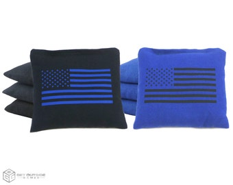 8 Black & Blue Flag Classic Series Cornhole Bags   Corn or All Weather