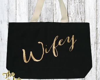 Black And Gold Wifey Tote Bag, Bride Bag, Honeymoon Carryon, Honeymoon shirt, Bride To Be, Bachelorette Gift, Canvas Tote,Beach & Market Bag