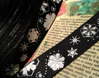 """7/8"""" Black and White with Metallic SILVER Snowflake Christmas Grosgrain Ribbon sold by the yard"""