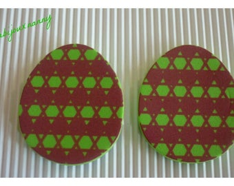 Foam Easter eggs, brown green checkered pattern, sold in packs of 2.