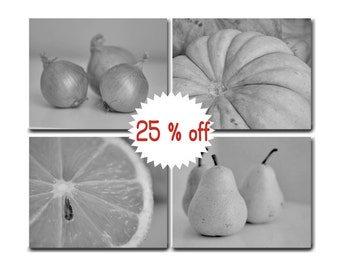 Dining room art set black and white wall art, gray kitchen decor food canvas set fruit vegetable kitchen canvas set of 4 modern kitchen art