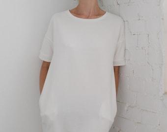 White dress Tshirt dress Dress Women's dress Women's tshirt dress Oversized tunic Oversized dress T dress Cotton dress French terry dress
