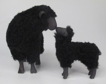 Handmade Black Sheep  Kissing Large Lamb