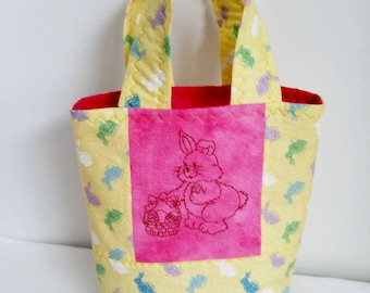 Girl's Easter Purse, Quilted Little Girls Purse, Easter Bags,Spring Purse, Machine Embroiderd Bunny,Machine Embroidered Rabbit,READY TO SHIP