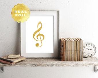Real Gold Foil Treble Clef Art Print 4 x 6, 5 x 7, Silver Foil, Treble Clef Decor, Music Art Decor, Trendy Decor, Modern, Print Series