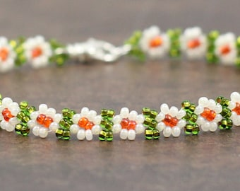 Beaded Anklet - Daisy Chain Anklet - Seed Bead Jewelry - Ankle Bracelet - Summer Anklet - Beach Jewelry - Orange and Green