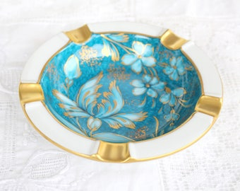 ASHTRAY, Vintage Porcelain Ashtray, Made in Germany, Floral with Gold Gilt Design, Gifts for Her