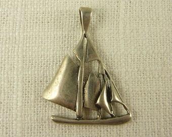 Vintage Sterling Handmade Sailboat Pendant