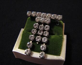 Vintage Silver Tone and Diamond Rhinestone Bar Pin Brooch