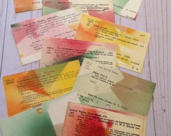 Library Card Catalog Cards, Painted (10) - Dewey Decimal System