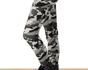 Grunge Gray Camo Printed Leggings - S/M/L and PLUS SIZE TOO!!