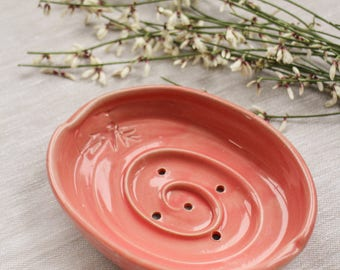 Pink ceramic soap dish. Soap holder. Soap dish with holes.