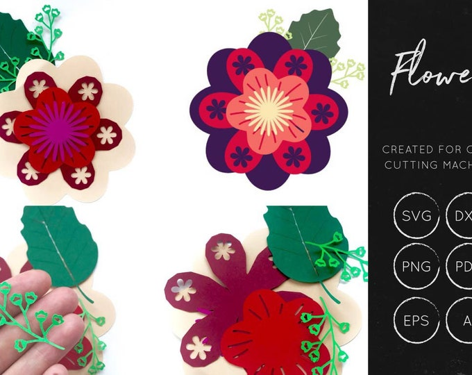Flower Shapes svg, layered flowers svg, lauered flower svg, flower clipart, floral svg, commercialuse, flowers for silhouette, pretty flower