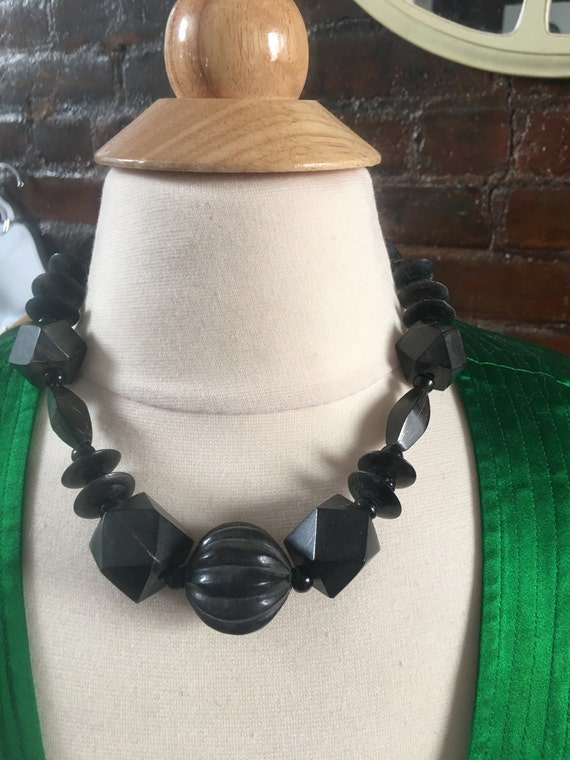 Exquisite Vintage Dark geometric Wooden carved Beads tribal mid century necklace