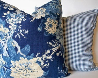 Blue Floral Pillow Cover, French Country Blue Blue Farmhouse Pillow Waverly Ballad Bouquet Indigo Blue 0