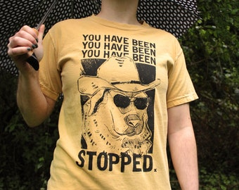 You Have Been Stopped T-Shirt | Don't Touch Me Shirt | Comfort Colors Mustard Yellow Dog Shirt