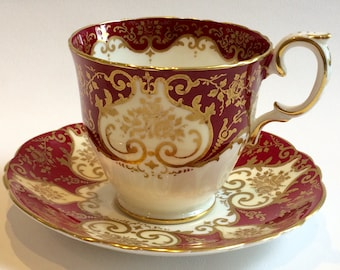 Tea cup  & saucer Vintage China Fine Bone Red Gold Crown Staffordshire Quality English China Search Replacements