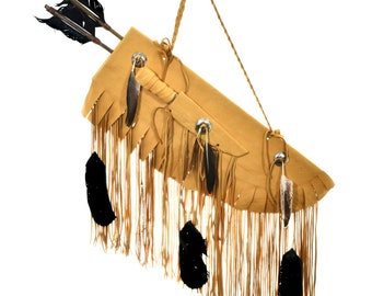 Plains Indian Buckskin Quiver with Arrows Bone Knife Concho Feathers