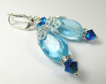 Turquoise Water Glass Drops and Swarovski Royal Blue Crystal Earrings on Sterling Silver Leverbacks