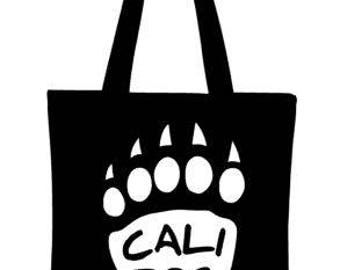 California Bear Paw Tote Bag, Canvas Tote Bag, Reusable Grocery Bag, Shopping Bag, Farmer's Market Bag, Reusable Tote Bag