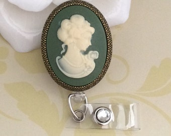 Vintage Lady Cameo Retractable ID Badge Reel, Nurse Badge Reel