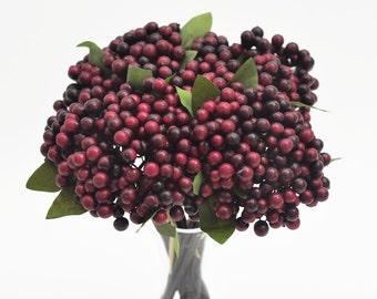 Artificial berries bunch,burgundy wine red berries,faux berries,faux holly berries,artificial cranberries bunch,centerpiece,home decor