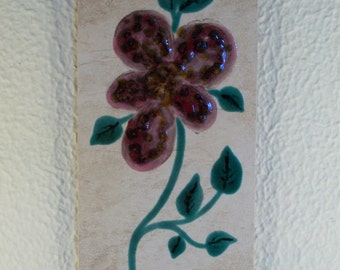 Glazed Ceramic Tile // Fantasy // Orchid // Flower // Hand-Crafted // by Me // Wall Hanging // Home Decor // Wall Decor