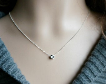 Tiny Silver Clover Necklace /  Reversible Little Solid Clover Pendant on a Sterling Silver Chain ... good luck charm