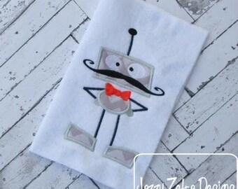 Dad Robot Appliqué embroidery Design - robot Applique Design - dad Applique Design