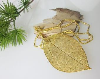 "Gold Leaf Necklace, Real Leaf Pendant, Leaf Jewelry, Elegant Pendant Necklace, 16""  Gold Necklace, Specialty Ball Chain, Minimalist Jewelry"