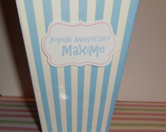 Large blue and white popcorn box personalized with your text for birthday party decoration or candy