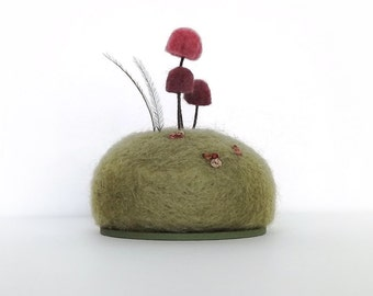 Mushrooms Pin Cushion in Raspberry Nature Scene Crafty Mom Gift Mom Seamstress Gift Home Decor Pincushion Made To Order
