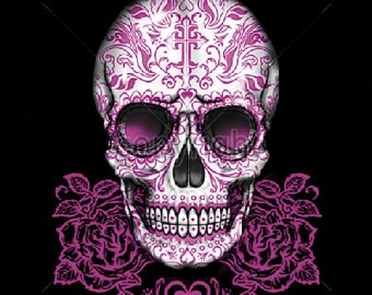 Sugar Skull With Pink Roses Day of the Dead WOMENS T Shirt 16394