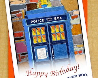 Police Call Box Card- Dr Who card- Birthday Card- Small Card- A Day Over 900- Blank Card- TARDIS Card- Doctor Who Card- British Card- TARDIS