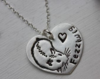 Custom Hamster Love Necklace - fine silver handmade heart pet charm with hand stamped name on sterling silver chain - free shipping in USA