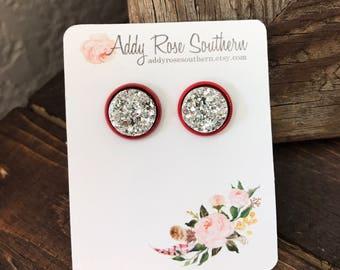 12mm druzy studs, druzy studs, druzy earrings, druzy jewelry, Christmas druzy, silver druzy earrings, rose gold druzy