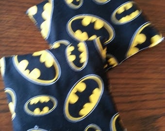 Boo Boo Packs, Ouch Pouch,Reuseable Hot and Cold Packs, Kids Ice Pack, Handwarmers, Heating Pad, Neck Wrap Size,  Set of 2, Batman fabric