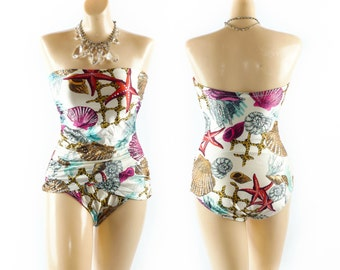 Vintage Novelty UNDER THE SEA Swimsuit // Strapless Swimsuit // One Piece Swimsuit // Gottex Swimsuit - sz S/M