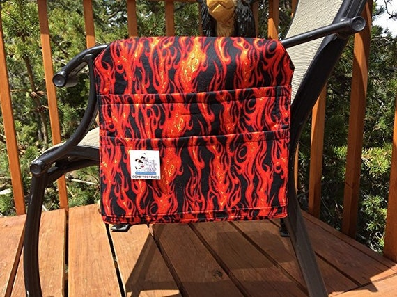 Walker Accessories, Hot Rod Flames Chair Caddy, Gift for Boys, Hospital Bed Rail Organizer, Outdoor Chairs, Bag, Nursing Home Gifts