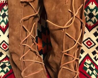 Minnetonka women's vintage brown suede moccasin tall BoHo boots sz 8