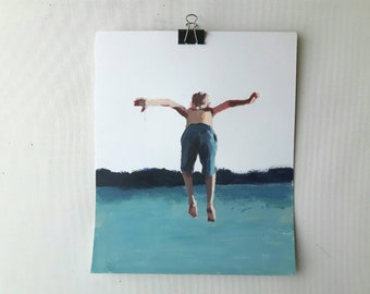 Original swimmer painting, acrylics on paper, jumping painting, original portrait, small painting, 9x12 painting, swimming art, seascape