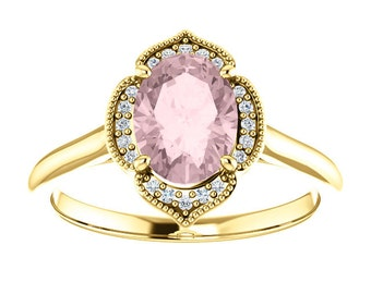 Morganite Diamond 14K Yellow Gold Vintage Floral Style Halo Engagement Ring, Oval Gemstone