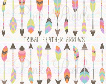 Feather Arrows Clipart Clip Art Vectors, Tribal Feather Arrow Clip Art Clipart Vectors - Commercial and Personal