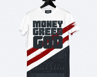 Money Greed God T-Shirt - Dye Sublimation - Unisex Streetwear - XS, S, M, L, XL, XXL | Made to Order |
