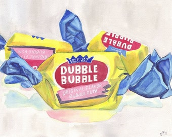 Dubble Bubble Gum Candy Painting Print, Watercolor Art Print, 5x7 Wall Art