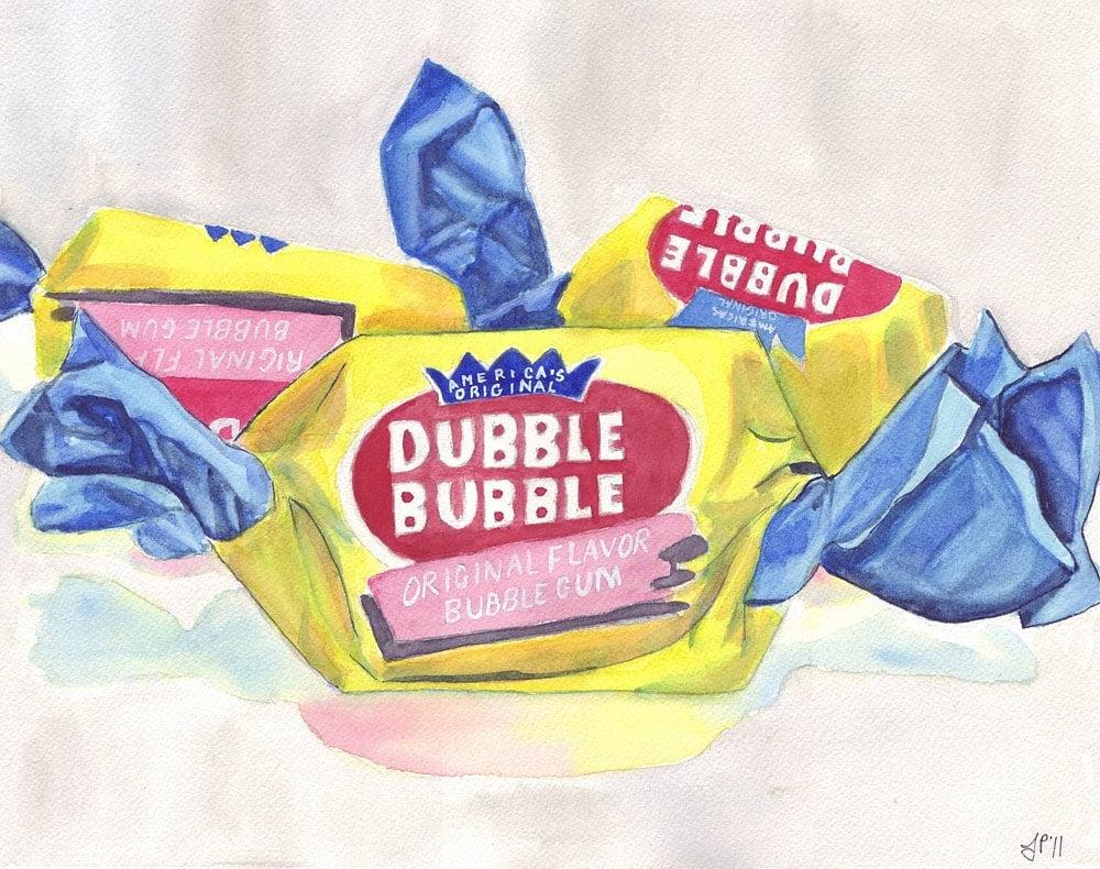 Watercolor Painting Dubble Bubble Gum Candy Watercolor Art
