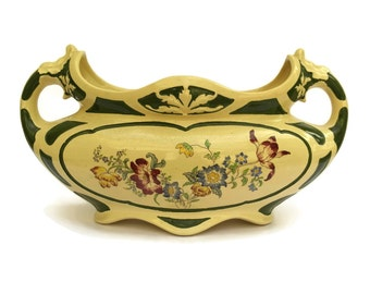 French Antique Clairefontaine Faience Jardiniere. Art Deco French Ceramic Cache Pot. Romantic French Garden Décor. Ségonite Vase.