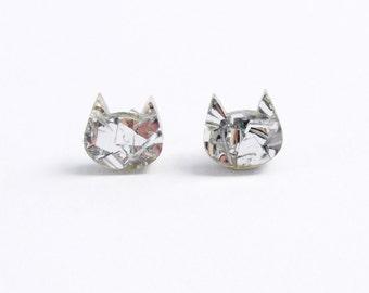 Cat Stud Earrings in Silver Glitter