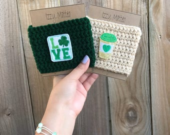St Patrick's Day Love Cup Cozy, Cup Cozy, Mason Jar Cozy, Reusable Cup Sleeve, Teacher Gift